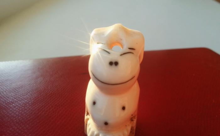 Пеликен улыбается. Пеликен вырезанный из моржовой кости. Приобретен в сувенирной лавке Анадыря и подарен в качестве экспоната в Музей юмора (организуемый Мусийчук М.В) (фото автора).
